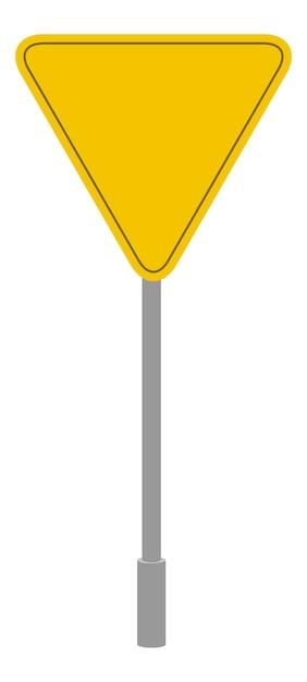 Gele verkeersbord geometrische vorm, driehoekige verkeer symbool cartoon geïsoleerde pictogram Gratis Vector
