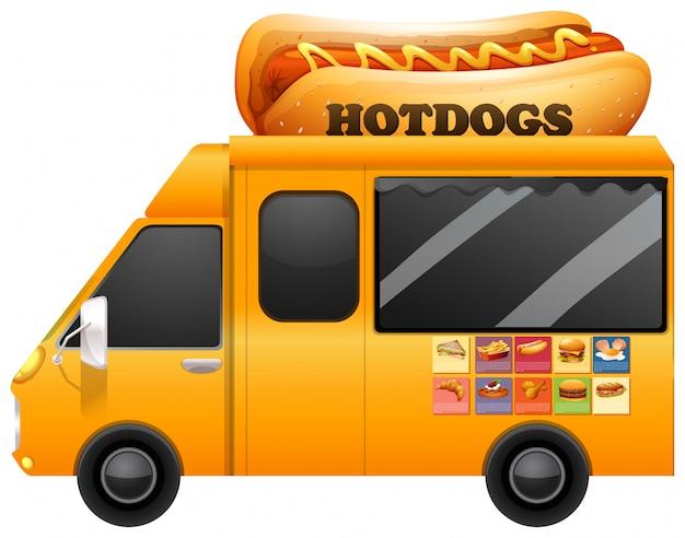 Gele voedselvrachtwagen met reuzehotdogs Gratis Vector
