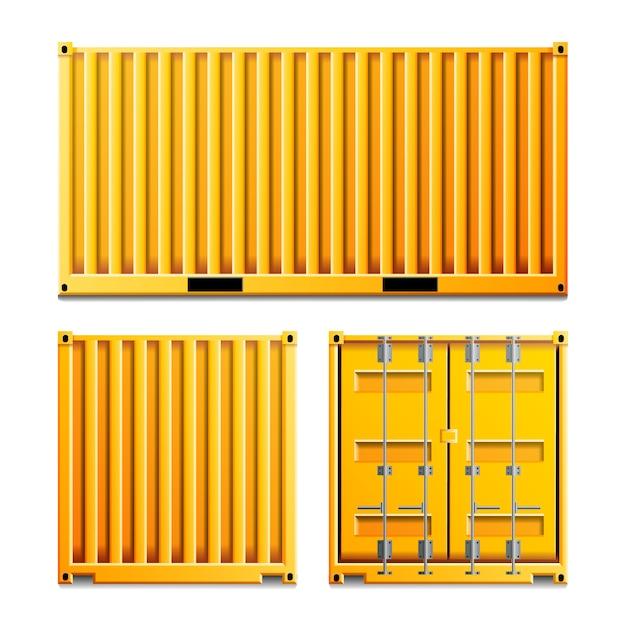 Gele vrachtcontainer Premium Vector