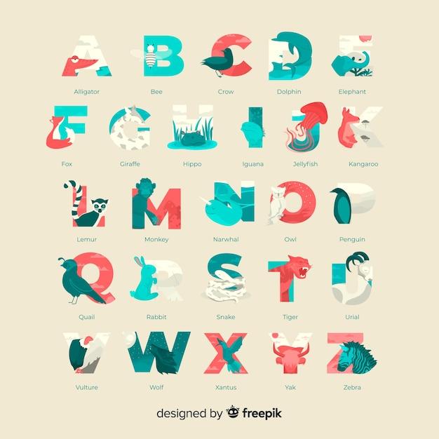 Geleerde dieren tekens alfabet collectie Gratis Vector