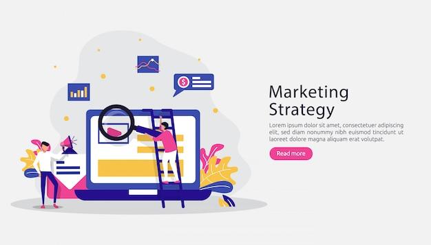Gelieerde digitale marketing strategie concept Premium Vector