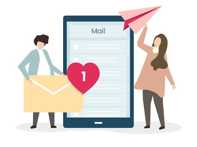 Geliefden die e-mails naar elkaar sturen Gratis Vector