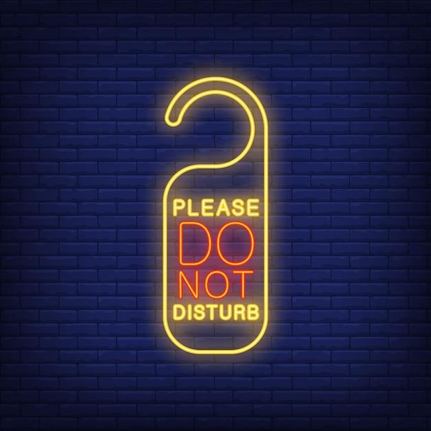 Gelieve het neonbord niet te storen Gratis Vector