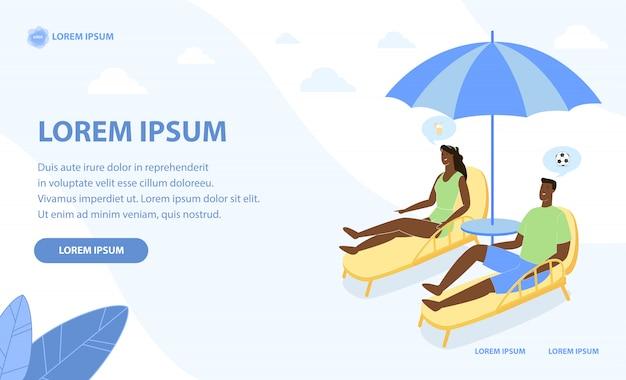 Gelooid paar ontspannen op het strand onder parasol Premium Vector