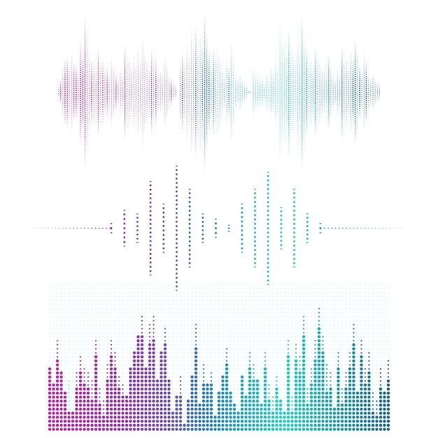 Geluidsgolf equalizer vector ontwerpset Gratis Vector