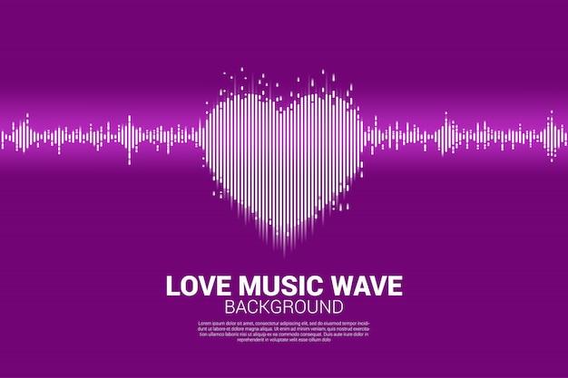Geluidsgolf hart pictogram muziek equalizer achtergrond Premium Vector