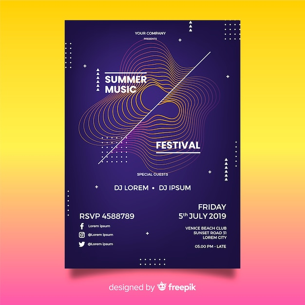 Geluidsgolf muziek poster sjabloon Gratis Vector