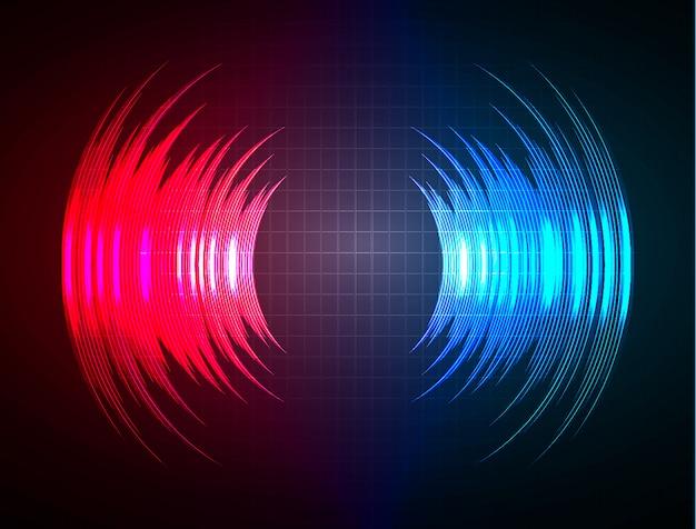 Geluidsgolven oscillerend donkerblauw rood licht Premium Vector