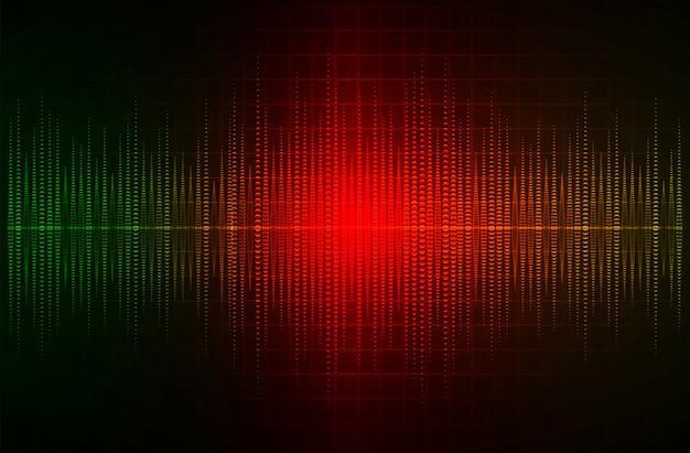Geluidsgolven oscillerend donkergroen rood licht Premium Vector