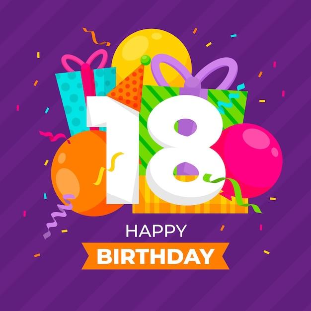Gelukkig 18 verjaardag achtergrond Gratis Vector