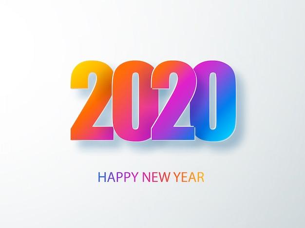 Gelukkig 2020 nieuwjaar kleurenbanner in papierstijl. 2020 moderne tekst voor uw seizoensgebonden vakantie flyers, groeten en uitnodigingen, felicitaties met kerstthema en kaarten. illust Premium Vector