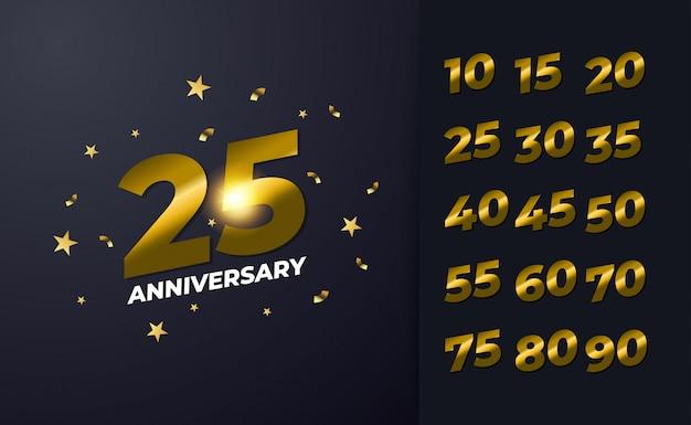 Gelukkig 25e verjaardag achtergrond met zwarte en gouden kleur Premium Vector