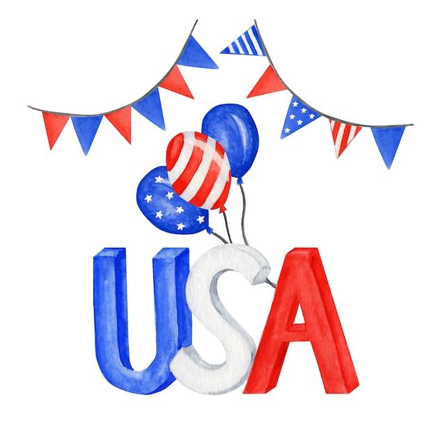 Gelukkig 4 juli usa independence day wenskaart met amerikaanse nationale vlag. Premium Vector