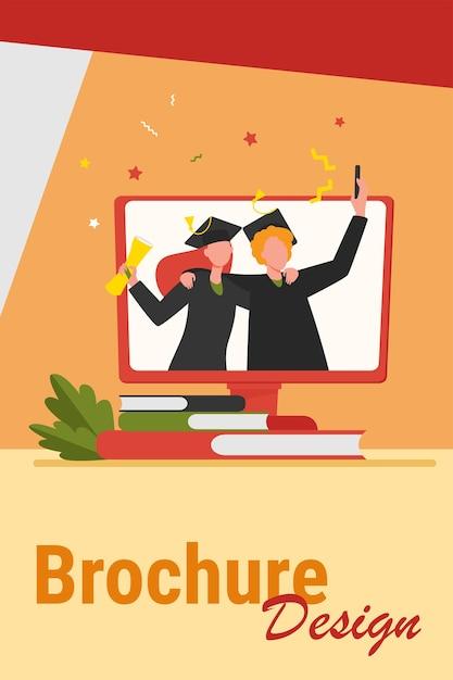 Gelukkig afgestudeerde studenten met diploma op monitor. boek, universiteit, koper platte vectorillustratie. onderwijs- en kennisconcept voor banner, websiteontwerp of bestemmingswebpagina Gratis Vector