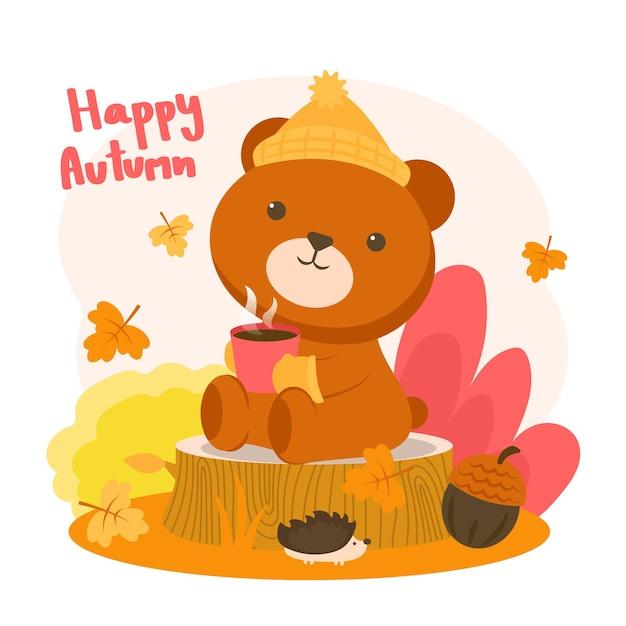 Gelukkig autumm met een beer die op een boomstronk koffie drinkt Gratis Vector