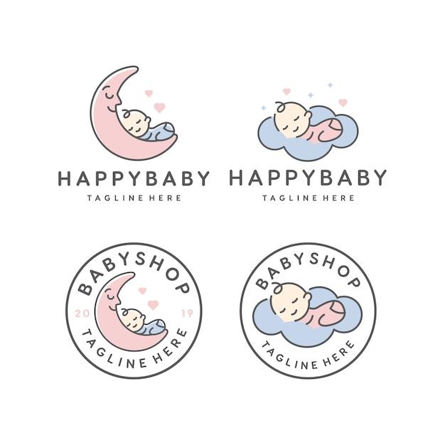 Gelukkig baby slapen / babyshop vector logo ontwerpsjabloon Premium Vector