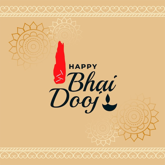 Gelukkig bhai dooj traditionele indiase festival kaart vector Gratis Vector