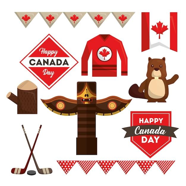 Gelukkig canada dag nationale symbolen instellen Premium Vector