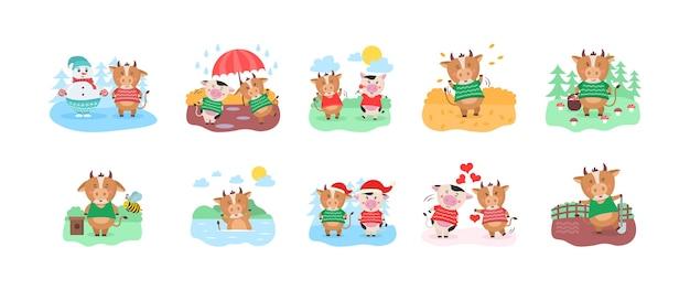 Gelukkig chinees jaar kalender sjabloonontwerp met schattige koe Premium Vector