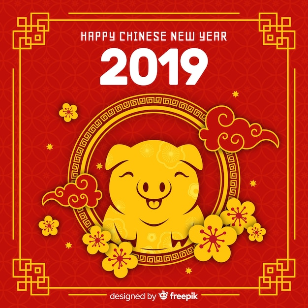 Gelukkig Chinees nieuw jaar 2019 Gratis Vector