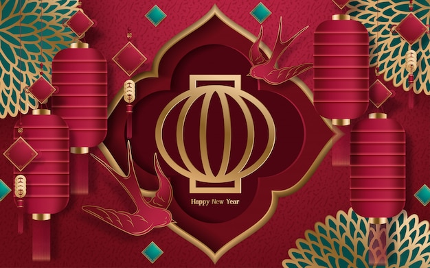 Gelukkig chinees nieuwjaar 2020 jaar van de rattenknipstijl Premium Vector
