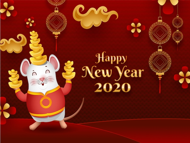 Gelukkig chinees nieuwjaar 2020 viering wenskaart met schattige cartoon rat holding ingots en chinese versierde ornamenten Premium Vector