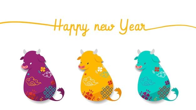 Gelukkig chinees nieuwjaar 2021, jaar van de os. drie chinese dierenriem van ossymbolen. Gratis Vector