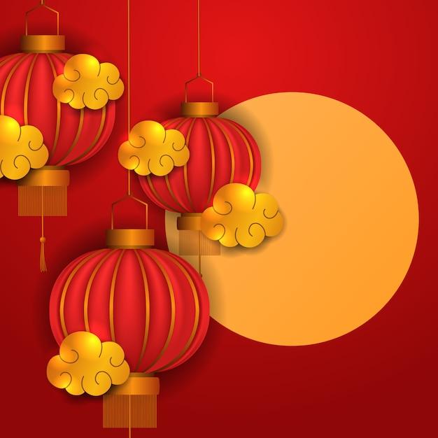 Gelukkig chinees nieuwjaar. 3d traditie rode lantaarn met gouden element Premium Vector