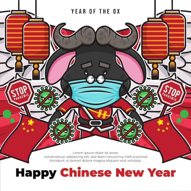 Gelukkig chinees nieuwjaar sociale media poster sjabloon met pandemie stopbord en schattig stripfiguur Premium Vector