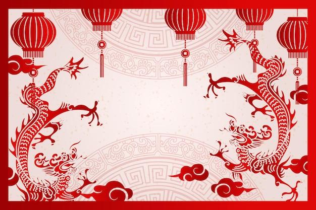 Gelukkig chinees nieuwjaar traditionele frame draak lantaarn en wolk Premium Vector