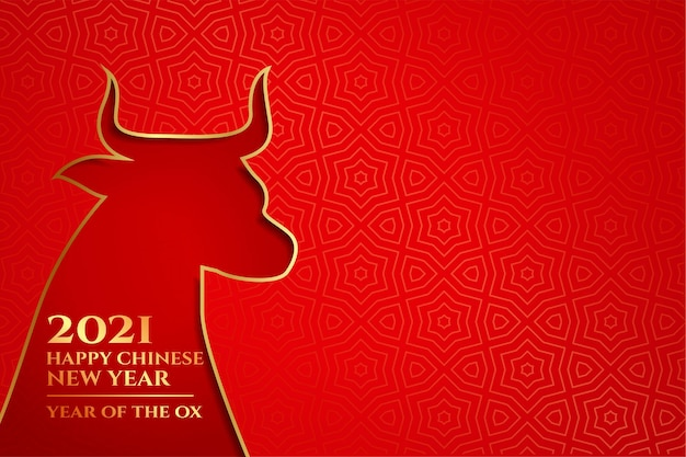 Gelukkig chinees nieuwjaar van de os 2021 op rood Gratis Vector