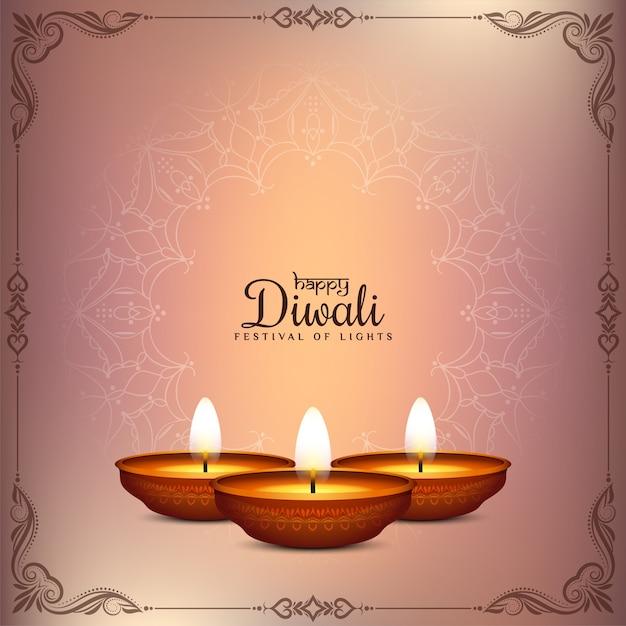 Gelukkig diwali-festival die traditionele achtergrond begroeten Gratis Vector