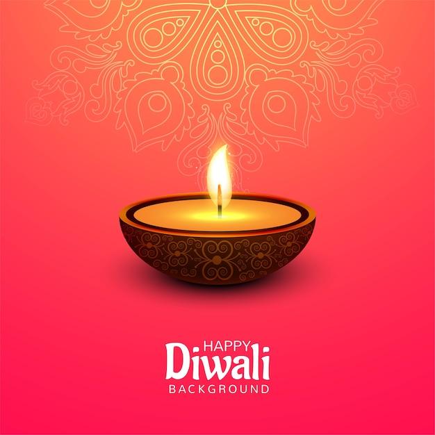 Gelukkig diwali-festival met de kaartachtergrond van de olielampviering Gratis Vector