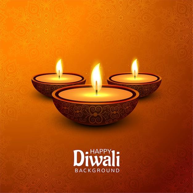 Gelukkig diwali-festival met decoratieve de kaartachtergrond van de olielampviering Gratis Vector