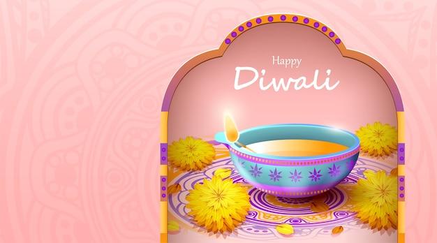 Gelukkig diwali-festival met olielamp, diwali-viering Premium Vector