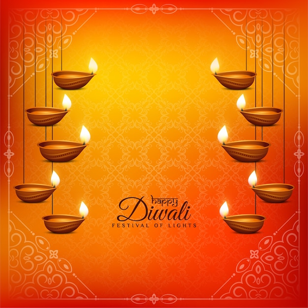 Gelukkig diwali-festival mooie hangende diya-achtergrond Gratis Vector