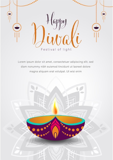 Gelukkig diwali festival of lights Premium Vector
