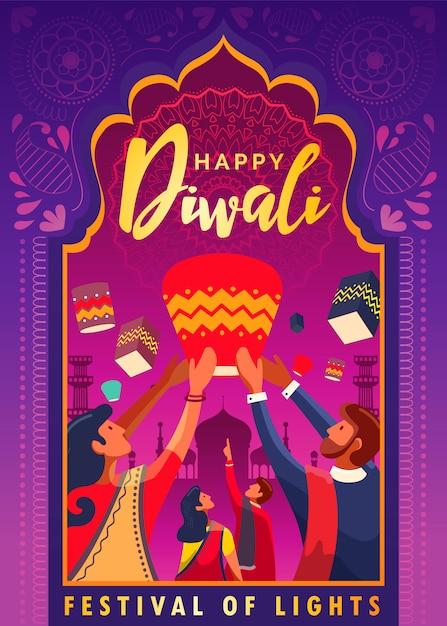 Gelukkig diwali-festival van lichtenaffiche Premium Vector