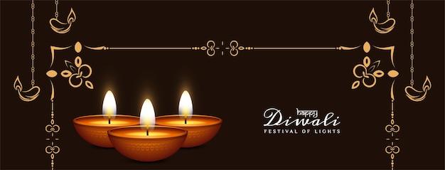 Gelukkig diwali-ontwerp van de festival decoratief elegant banner Gratis Vector