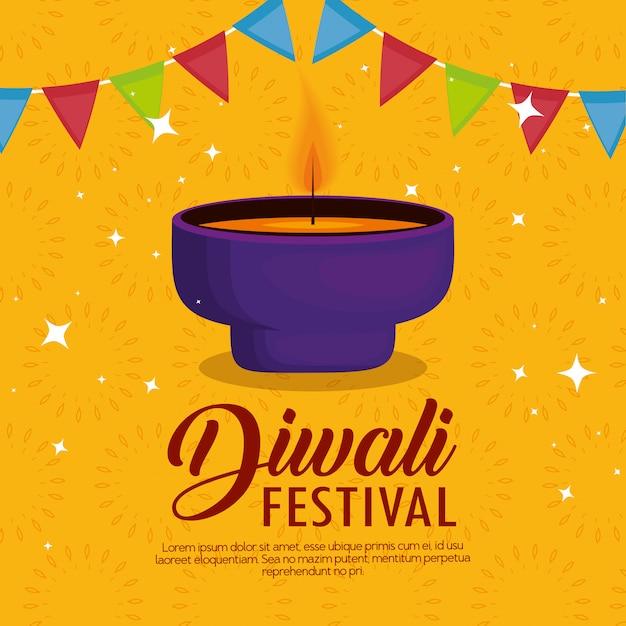 Gelukkig diwalifestival van lichten met kaars en slinger Gratis Vector