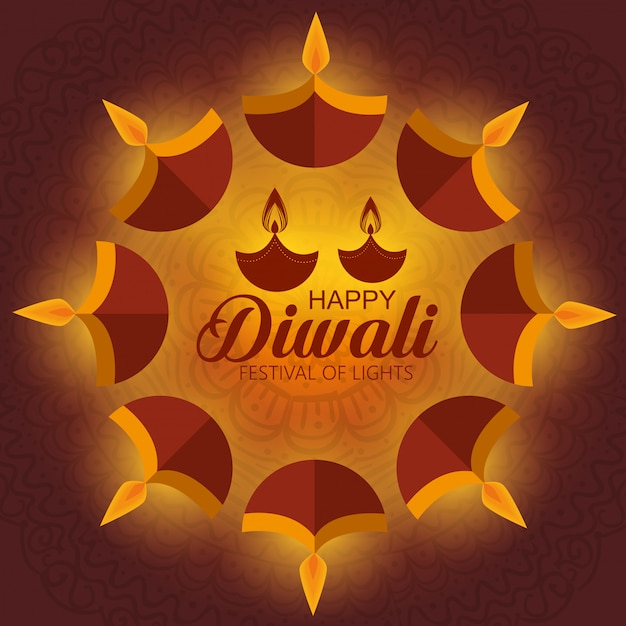 Gelukkig diwalifestival van lichten met kaarsen Gratis Vector