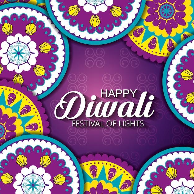 Gelukkig diwalifestival van lichten met mandala's Gratis Vector