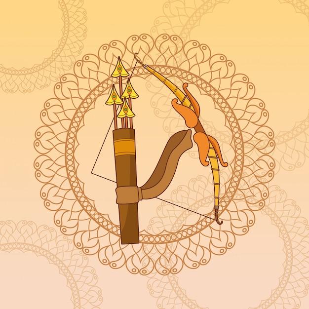 Gelukkig dussehra-festival van india Premium Vector