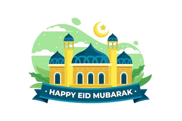 Gelukkig eid mubarak moskee en blauw lint Gratis Vector