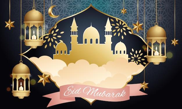 Gelukkig eid mubarak-wenskaart versierd met gouden lantaarn en sterren. Premium Vector