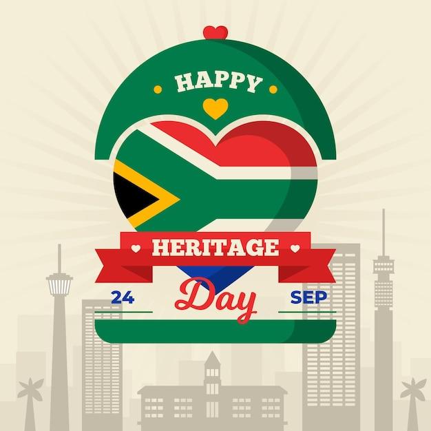 Gelukkig erfgoed dag met hart en vlag Gratis Vector