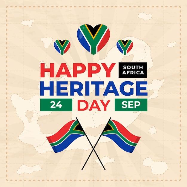 Gelukkig erfgoed dag met vlag en harten Gratis Vector