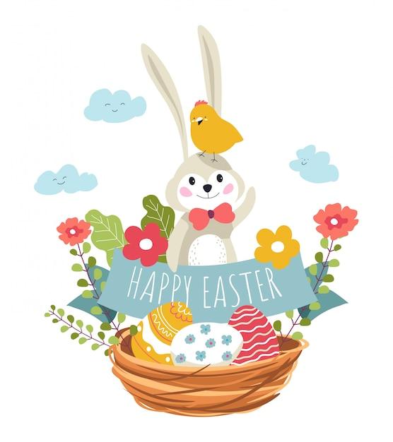 Gelukkig eter, konijn en vogel zitten in geweven mand Premium Vector