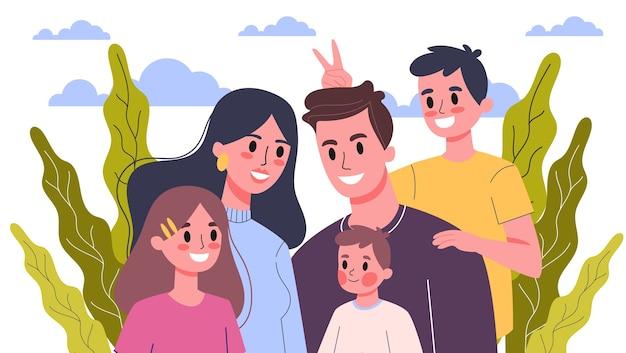 Gelukkig familieportret. mama en papa, kinderen en hun broers en zussen. illustratie Premium Vector