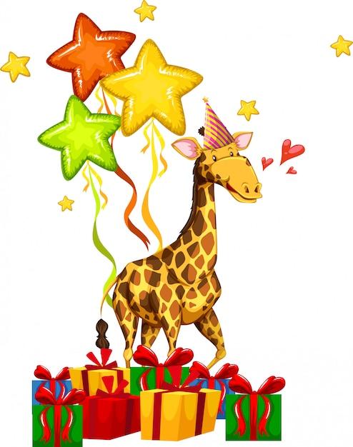 Gelukkig feest giraffe concept Gratis Vector